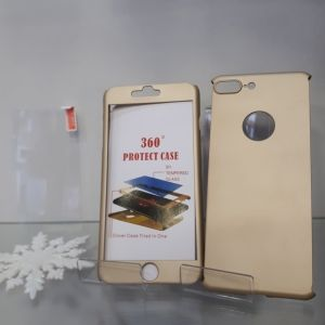 Hybrid case with tempered glass iPhone 7 Plus Gold