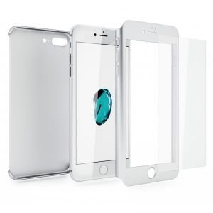 Hybrid case with tempered glass iPhone 7 Plus Silver